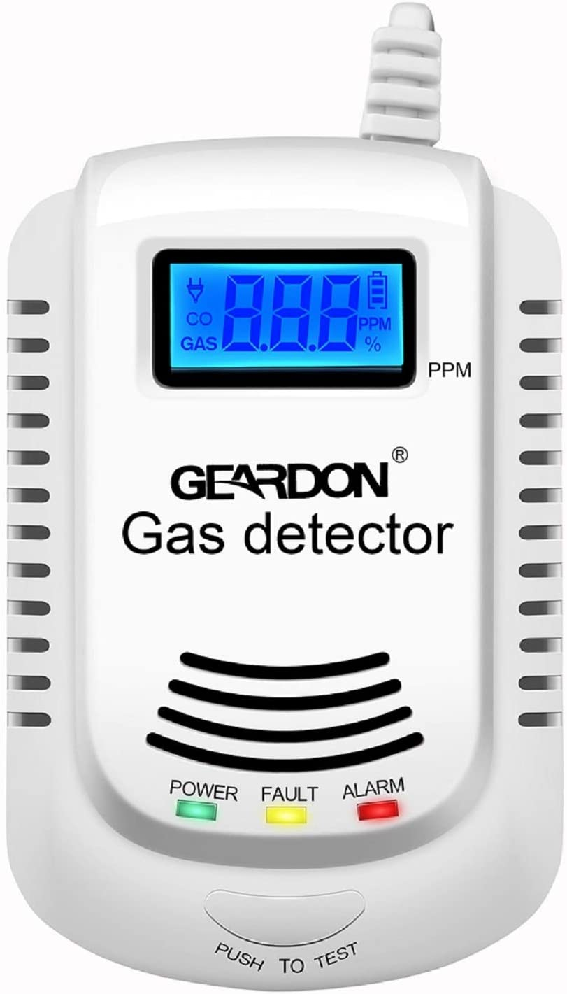 Natural Gas Detector, GEARDON Plug-in Home Gas/Methane/Propane Alarm Detector, Leak Sensor Detector with Voice Promp and LED Display