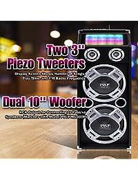 Pyle psufm1035 a Bluetooth 1000 W de 2 Vías sistema de altavoces con lector de tarjetas SD, radio FM, AUX entrada de 0.14 pulgadas y luces intermitentes DJ., Negro