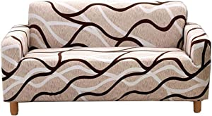 nordmiex Stretch Sofa Slipcovers Fitted Furniture Protector Printed Sofa Covers Stylish Fabric Couch Cover with 2 Pillowcases for 4 Cushion Couch(Sofa-4 Seater,White/Brown/Beige)