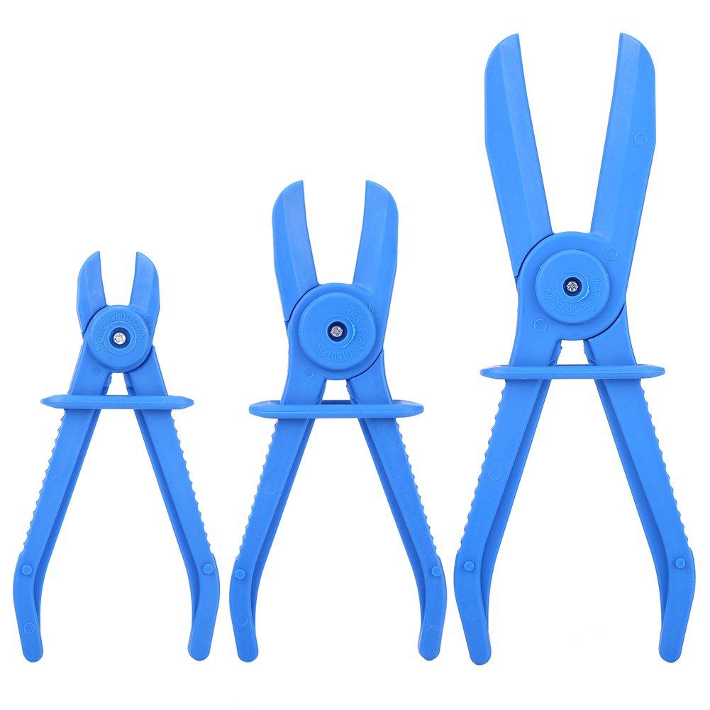 Qiilu 3Pcs Plastic Flexible Hose Clamp Tool Set Brake Fuel Water Line Clamps Plier Kit (Blue) by Qiilu (Image #5)