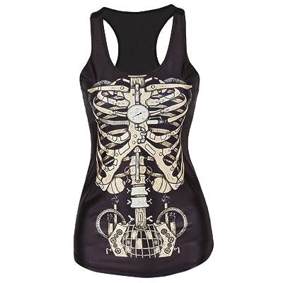 ZHANGZZ Clothing Women T-Shirt Black Vest Tops 3D Print Camisole Tank Top Fitness Feminino
