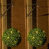 Woodside 2 x 28cm Solar Powered 20 LED Topiary Balls Hanging Garden Decoration, 8 Light Functions