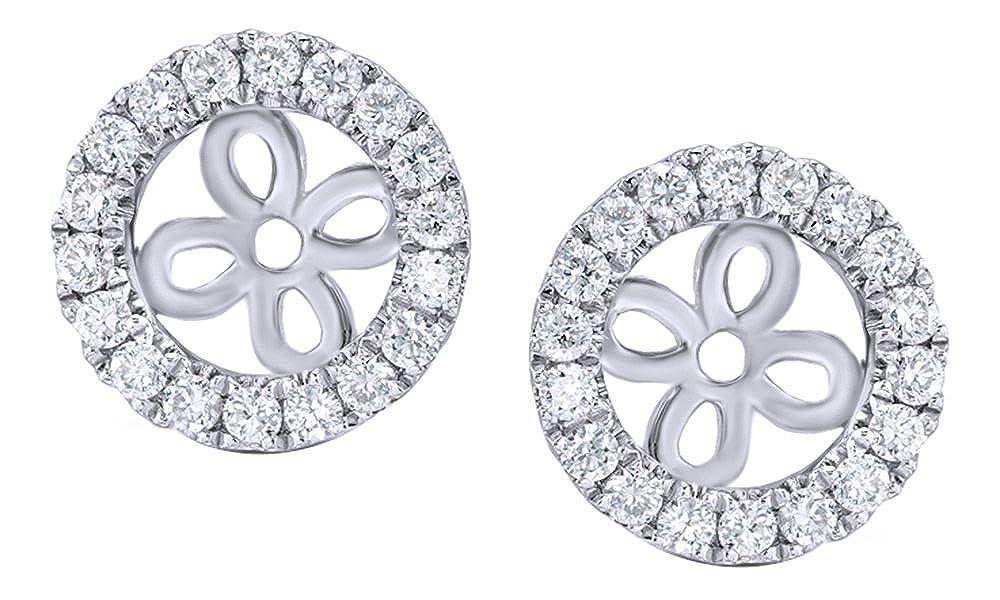Weißszlig; natürlicher Diamant Rahmen Ohrring Jacken In 14 ct 585 Massiv Weißszlig; Gold (0,25 Karat) 14 Karat (585) WeißGold