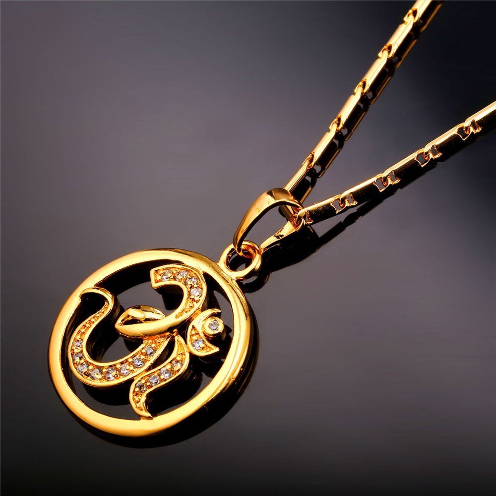 U7 Brand AUM OM Pendant Charm Necklace India Hinduism Jewelry 18K Gold Plated Amulet Necklace by U7 (Image #4)