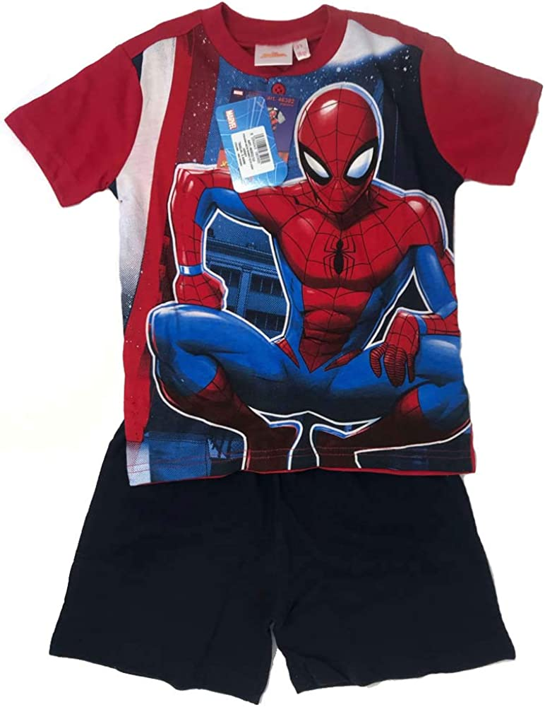 Pigiama Bambino Mezza Manica e Pantaloncino in Cotone DISNEY/_Spiderman