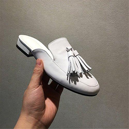 Para Mujer Clásica Plataforma Sin Respaldo Slip-on Chunky Block Heel Mules M66-1 Blanco