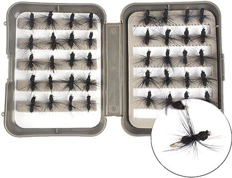NEWSHOT Moscas para Pesca con Mosca, Kit de 40 cebos Secos para Moscas y Hormigas con Caja para Trucha: Amazon.es: Deportes y aire libre