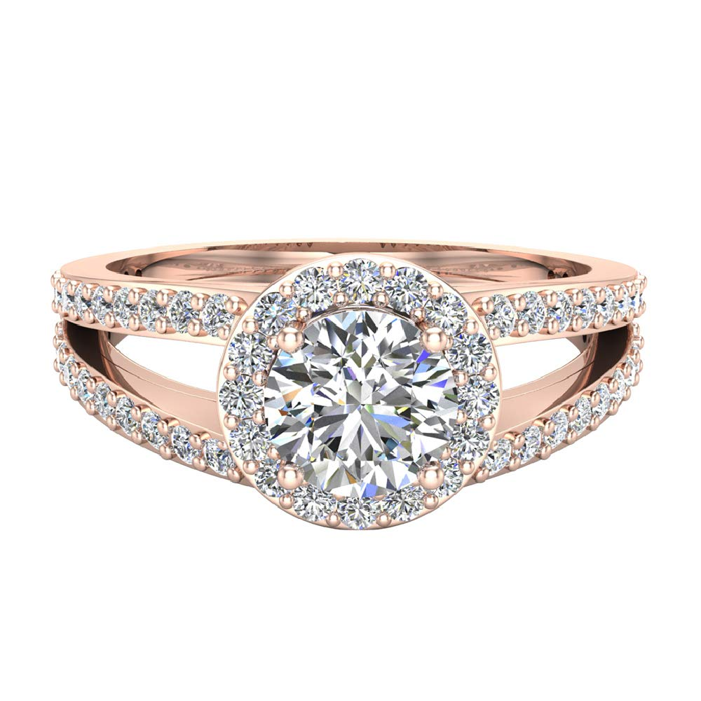 Engagement Ring 14K Rose Gold Round Brilliant Split Shank Halo Diamond 1.40 carat total weight (Ring Size 9)