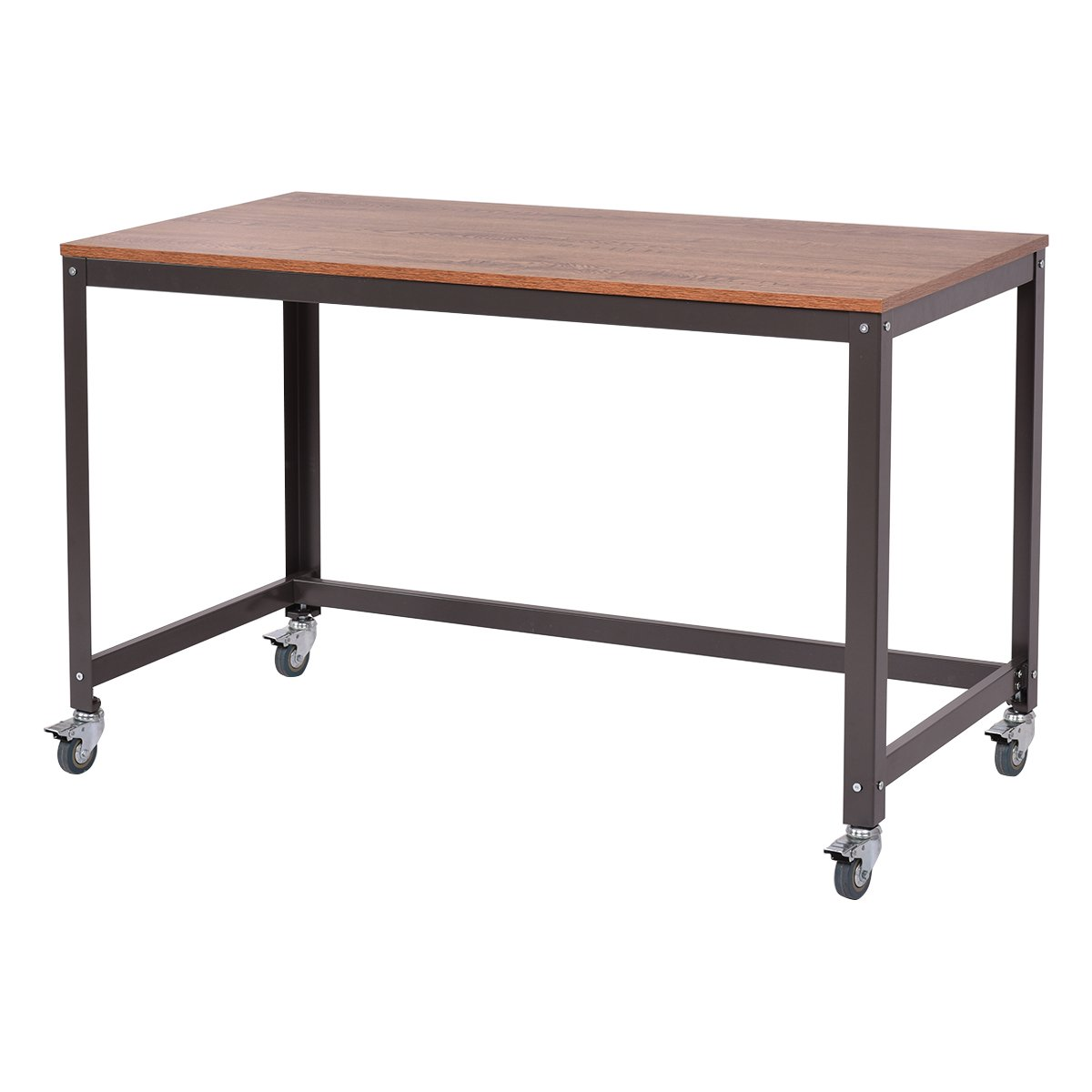 TANGKULA Computer Desk Wood Portable Compact Simple Style Home Office Study Table Writing Desk Workstatation with Wheels, Home Office Collection Work Table (Black Walnut)