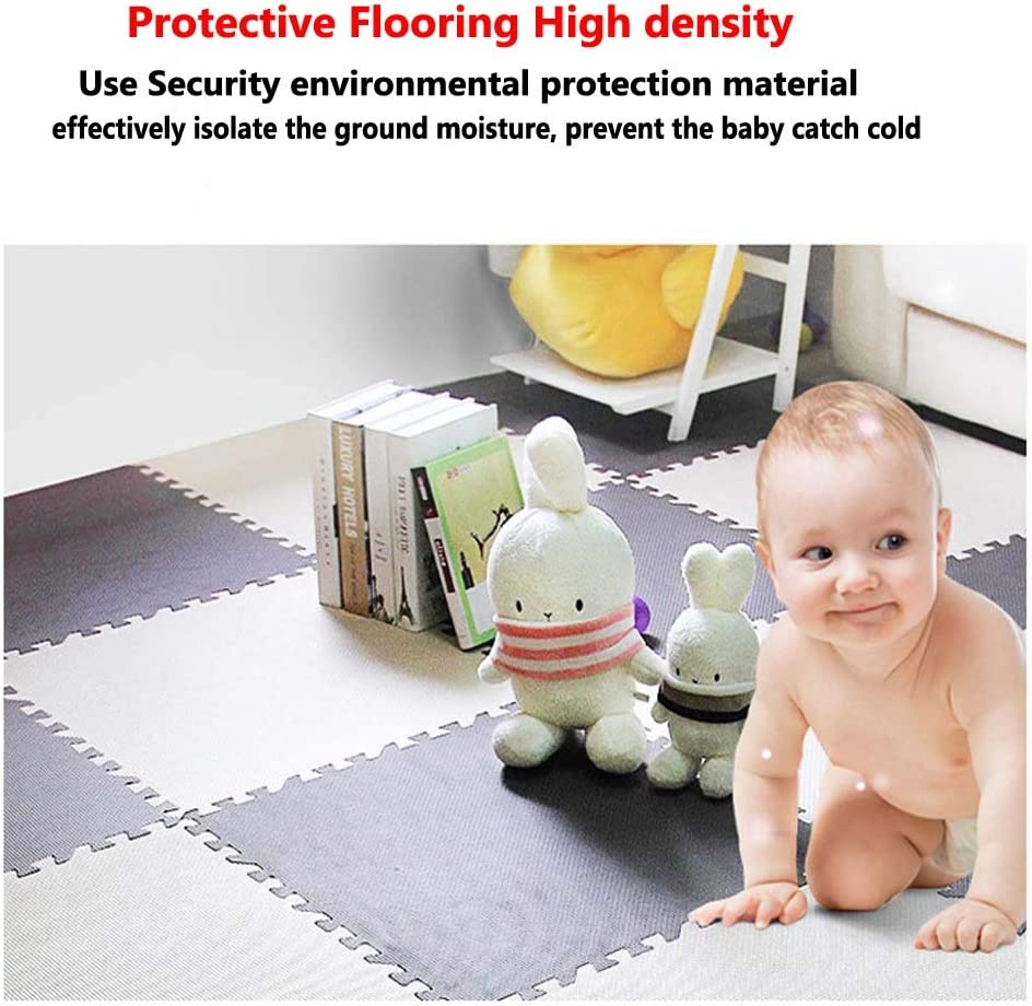 HOUTBY 6 Pieces Solid Foam Puzzle Play Mat for Kid Brown and Beige Safe Soft Foam Exercise Mat Rich Colors