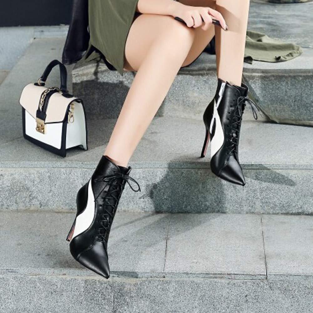 Damen Stiefel spitz Zehe Cross-Tied dünne High Heels Schuhe Zauber Zauber Zauber Farbe Kurze Stiefel, Damen Sportschuhe, Frauen Stiefel (Farbe   Schwarz, Größe   7) 68016b