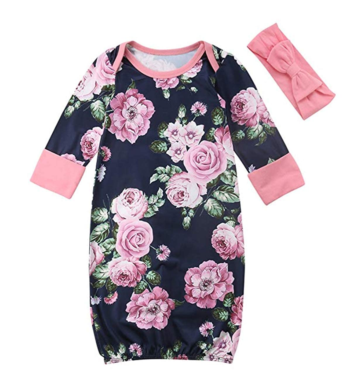 Newborn Baby Girl Sleep Gown Floral Print Swaddle Sack Coming Home Outfit+Headband