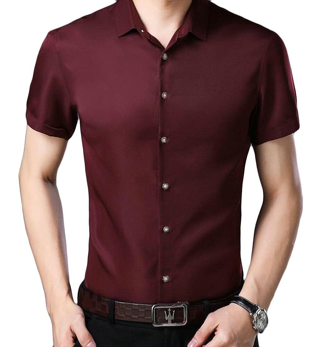 M/&S/&W Dress Shirt Mens Smooth Plain Non Iron Flat-Front Dress Shirt Tops