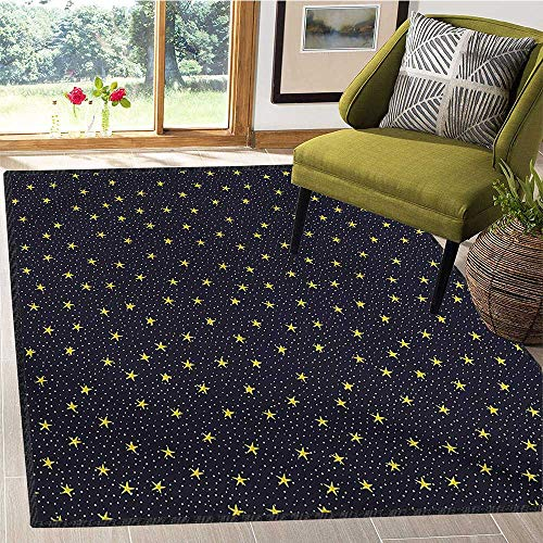 Night Sky, Area Rug Kids, Hand Drawn Style Yellow Stars and White Dots Celestial Midnight Print, Children Kids Nursery Rugs Floor Carpet 6x7 Ft Black White Yellow
