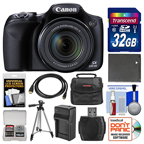 Canon PowerShot SX530 HS Wi-Fi Digital Camera with 32GB Card + Case + Battery & Charger + Tripod + Kit by Canon