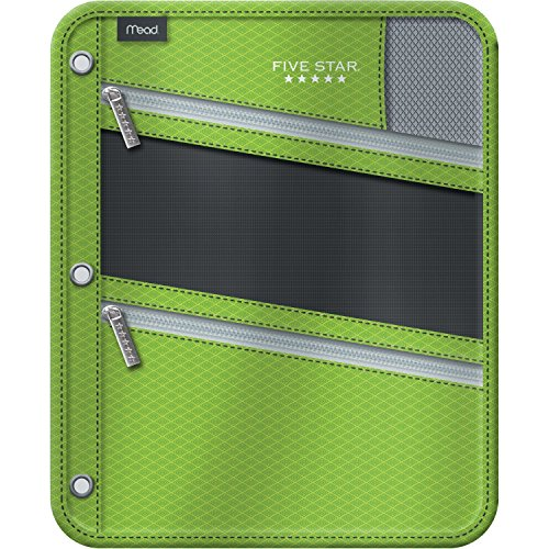 Five Star Pencil Pouch, Pen Case, Fits 3 Ring Binder, Zipper Pouch, Lime/Silver (50642CO8)]()