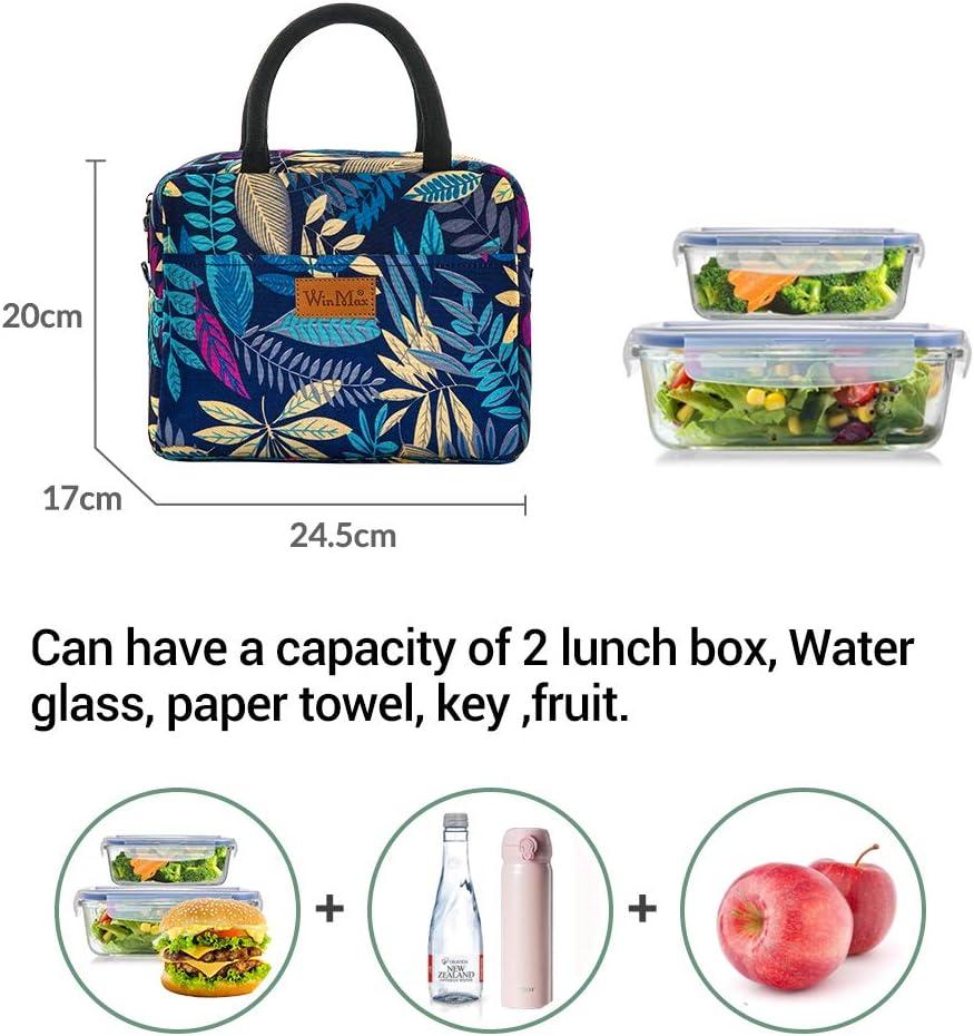 Rouge LAAT Sac /à D/éjeuner Sacs /à Lunch Sac Repas Isotherme Portable Sacs Conteneur de Stockage Isolant Thermique Lunch Bag de la Maison//Voyage//De Pique-Nique//Bureau
