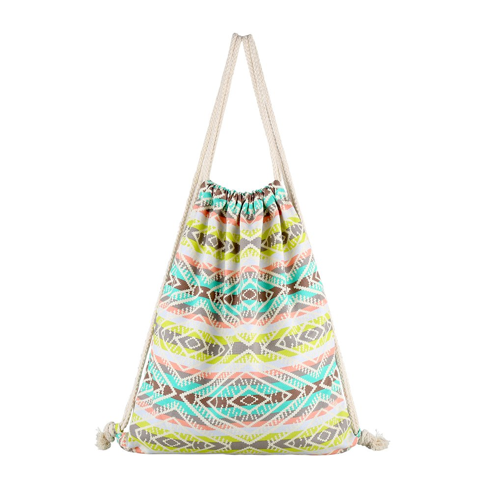 Farway Unisex Canvas Drawstring Bag Ethnic Knit Bohemia Backpack Shopping Sack Bags