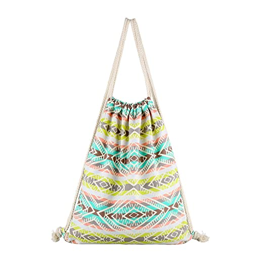 Amazon Farway Drawstring Bag Canvas Ethnic Bohemia Backpack Enchanting Drawstring Bag Pattern