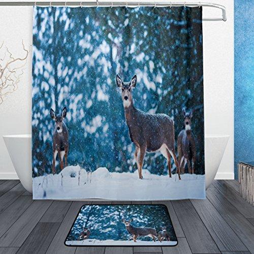 """72/"""" Lovely Deer Fox Bear Bathroom Waterproof Fabric Shower Curtain Hooks Mat Set"""