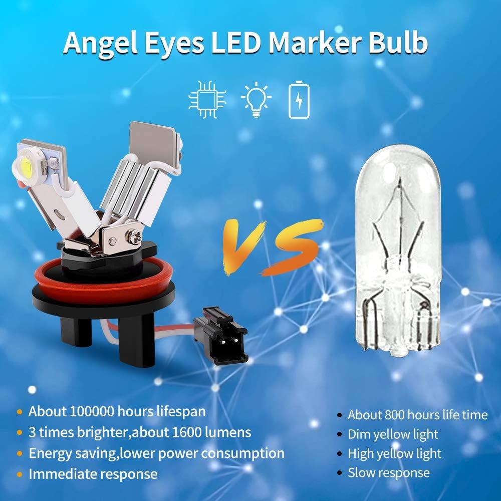 Biqing 2PCS 6W LED Fari Angel Eyes per Auto Kit di Conversione Alogeno Canbus Faro Halo Ring Marker Bulbi Luci di Posizione 6000K Bianca per E82 E87 E89 E90 E91 E92 E93 E60 E61 E63 E70 X5 E71 X6
