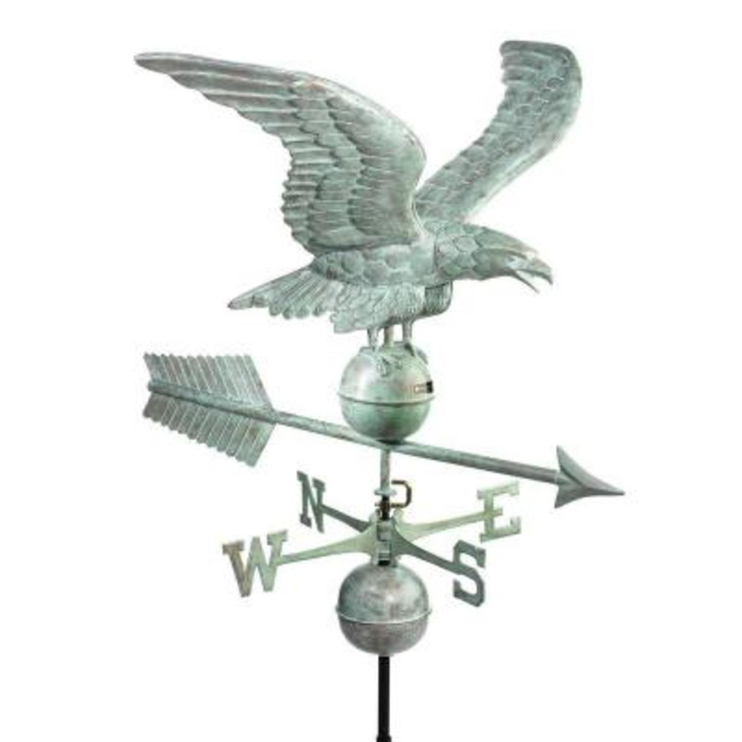 30'' Smithsonian Collection Handcrafted Blue Verde Eagle Outdoor Weathervane by CC Home Furnishings