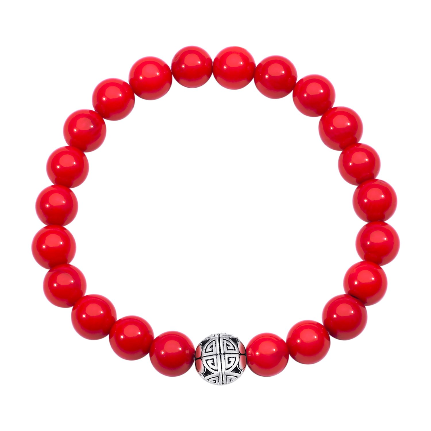 MetJakt Natural 8mm Gemstones Healing Crystal Stretch Beaded Bracelet Bangle 925 Silver Double Happiness Pendant (Red Coral)