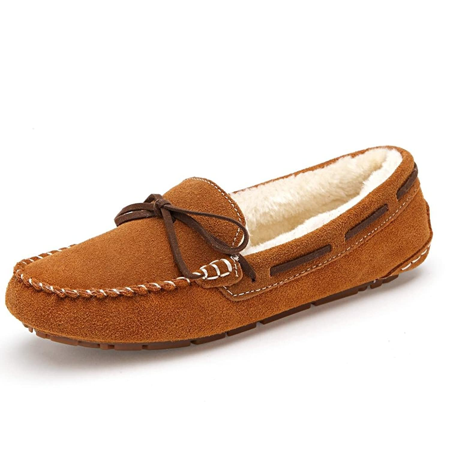 SUNROLAN Women's Winter Flats Suede House Slipper Fur-Lined Moccasins