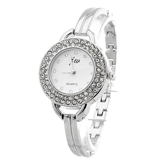 BLACKMAMUT Reloj Para Mujer Correa Tipo Pulsera Correa de Metal Color  Plateado Contorno con Incrustaciones de c79a650c8006