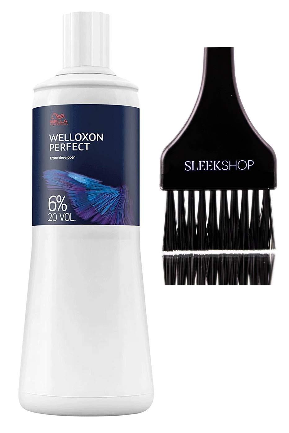 Wella KOLESTON WELLOXON PERFECT Cream Developer (with Sleek Tint Brush) (20 Volume/6% - 33.8 oz liter)