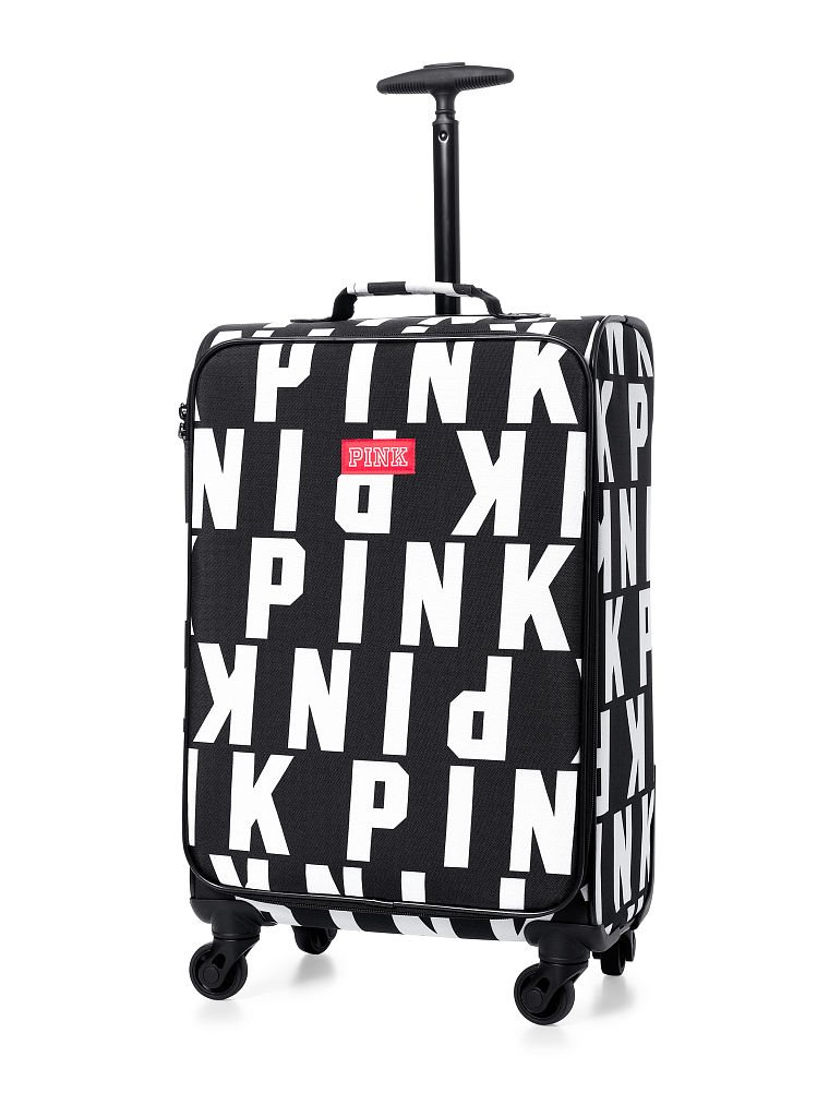 Victoria's Secret Pink Logo Black & White Wheelie Luggage Carry On Suitcase by Victoria's Secret