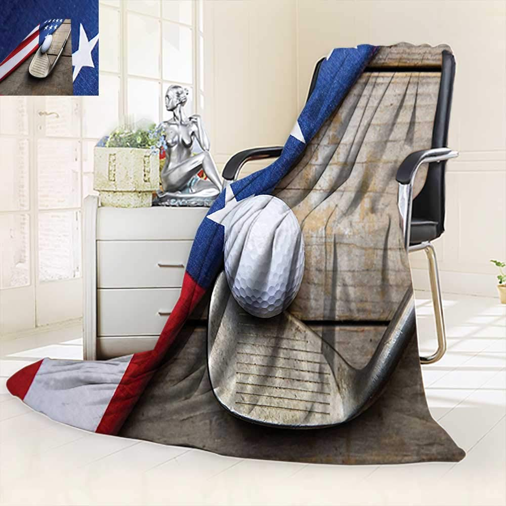 vanfan Silky Soft Plush Warm Blanket Autumn Winter Collection Golf Ball Flag USA on Wood Table Patriotism Rustic Country,Silky Soft,Anti-Static,2 Ply Thick Blanket. (60''x36'')