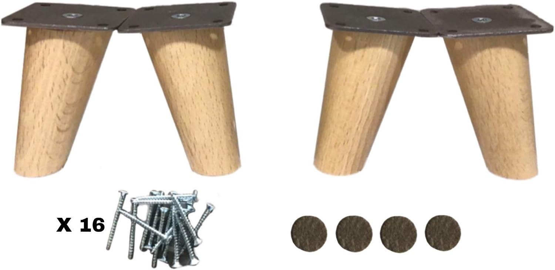 patas para muebles madera haya. Patas cónicas con inclinación, y placa de montaje ya instaladas. 8 cm alto color natural (8 cm)