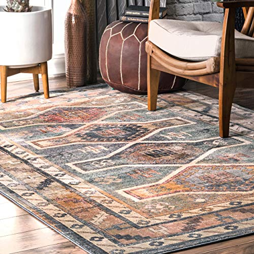 nuLOOM Aiyana Tribal Area Rug, 4' x 6', Blue (Rugs Area Kilim)