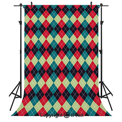 Navy and Teal Photography Backdrops,Classical Argyle Diamond Line Pattern Vintage Traditional Colorful Retro Decorative,Birthday Party Seamless Photo Studio Booth Background Banner 5x7ft,Multicolor
