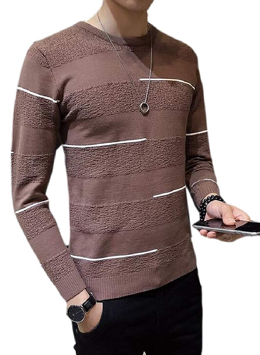 ZXFHZS Mens Slim Jumper Striped Knitted O-Neck Pullover Sweater