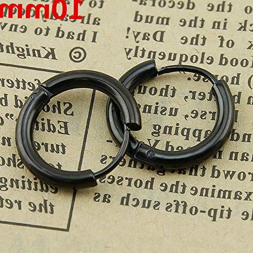 Monowi Mens Womens Stainless Steel Tube Hoop Ear Ring Stud Unisex Earrings Jewelry Punk   Model RNG - 7484   10mm