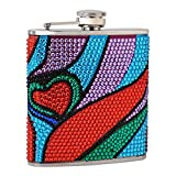 6oz Rhinestone Hip Flask with Heart Pattern