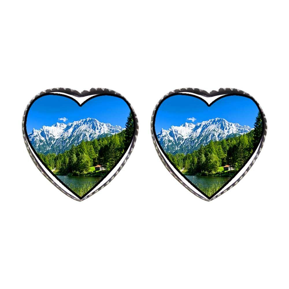 GiftJewelryShop Bronze Retro Style larch tree German Alps Photo Stud Heart Earrings #12