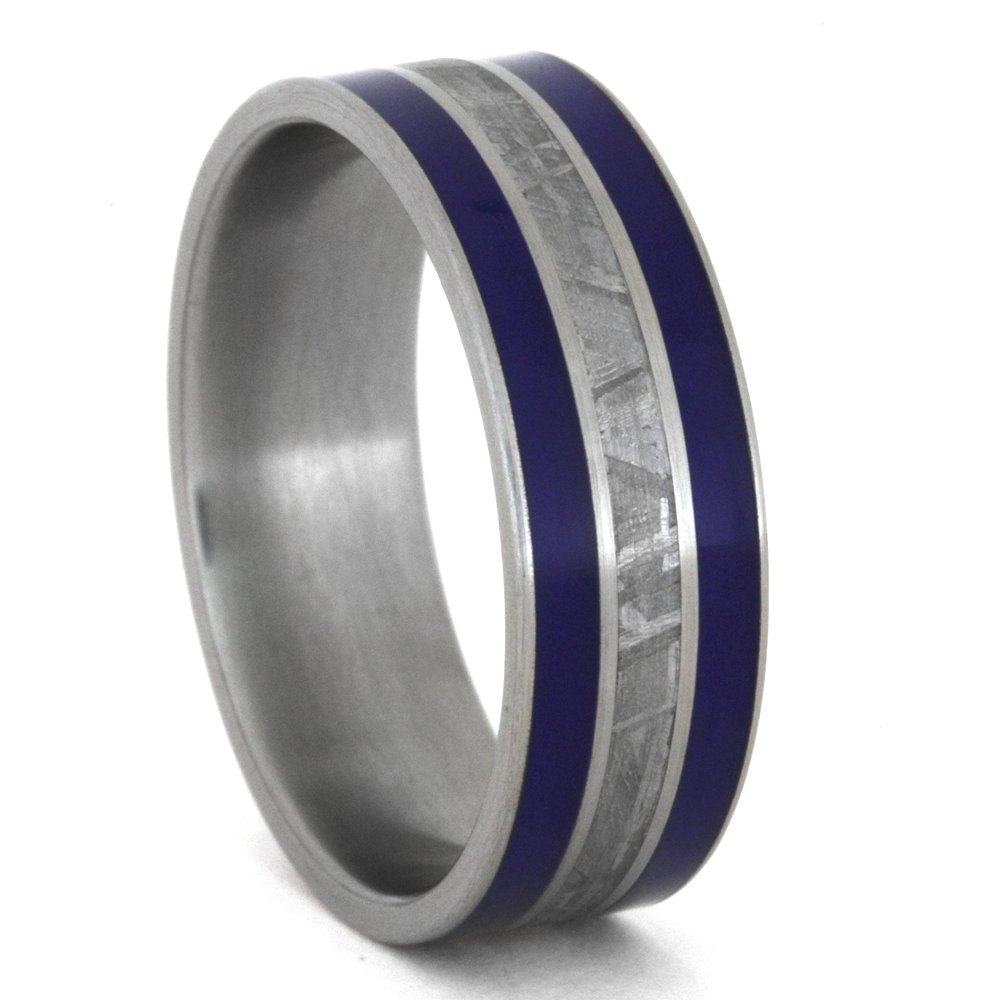 Meteorite, Blue Enamel Inlay 8mm Comfort-Fit Brushed Titanium Band, Size 14.5 by The Men's Jewelry Store (Unisex Jewelry) (Image #1)