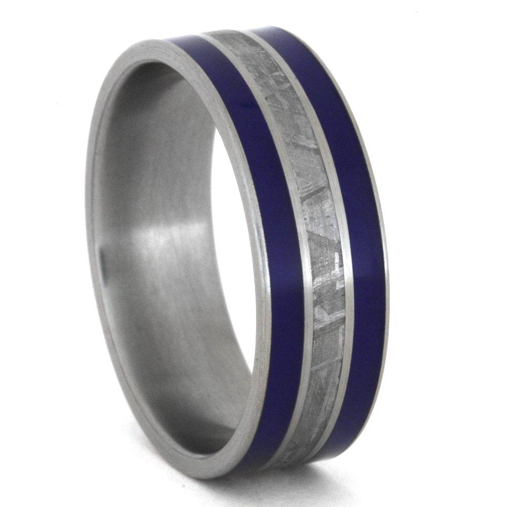 Meteorite, Blue Enamel Inlay 8mm Comfort-Fit Brushed Titanium Band, Size 14.5