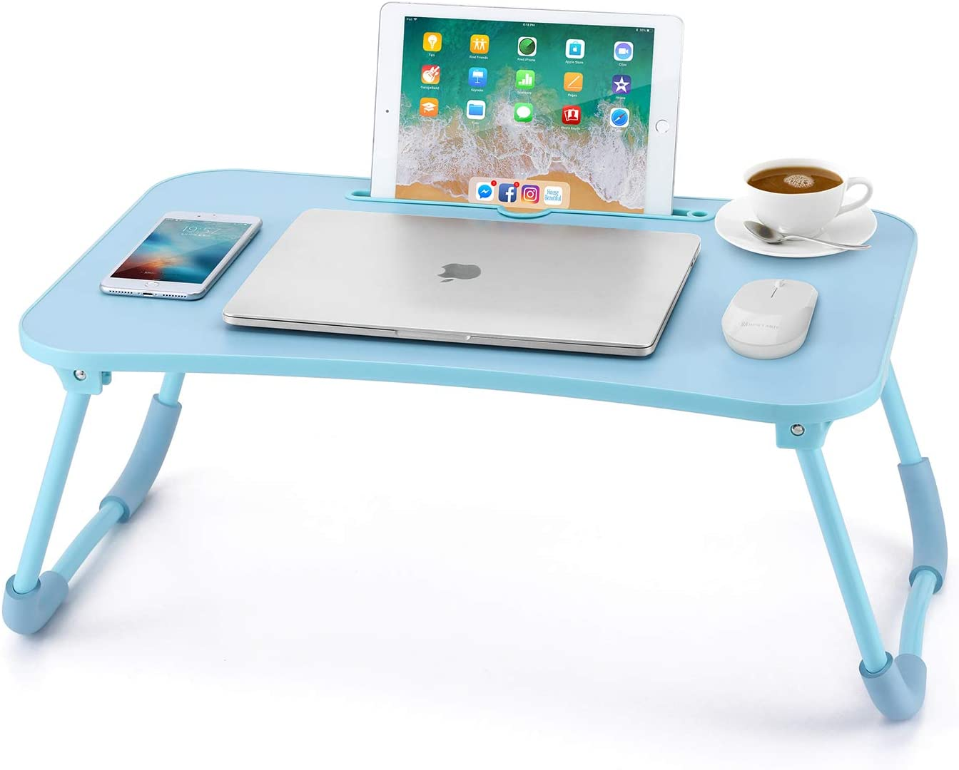 Nnewvante Lap Desk Bed Table Tray for Eating Writing Foldable Desk with iPad Slots for Adults/Students/Kids, Blue