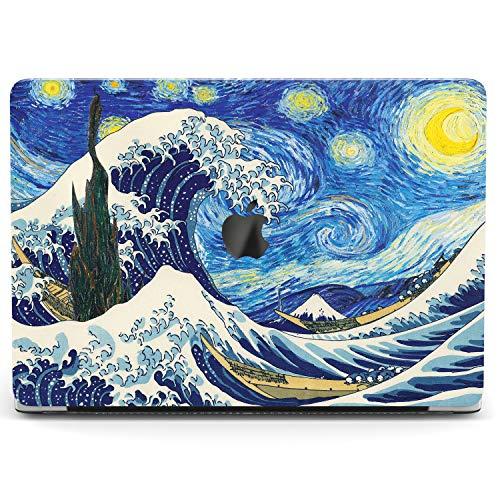 Wonder Wild Case for MacBook Air 13 inch Pro 15 2019 2018 Retina 12 11 Apple Hard Mac Protective Cover Touch Bar 2017 2016 2015 Plastic Laptop Print Big Wave Artwork Blue Kanagawa Star Night Van Gogh