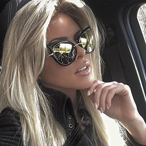 Cat Eye Oversized Fashion Style Women Sunglasses Mirrored Lens Oval - Cat Eye Celebrity Sunglasses