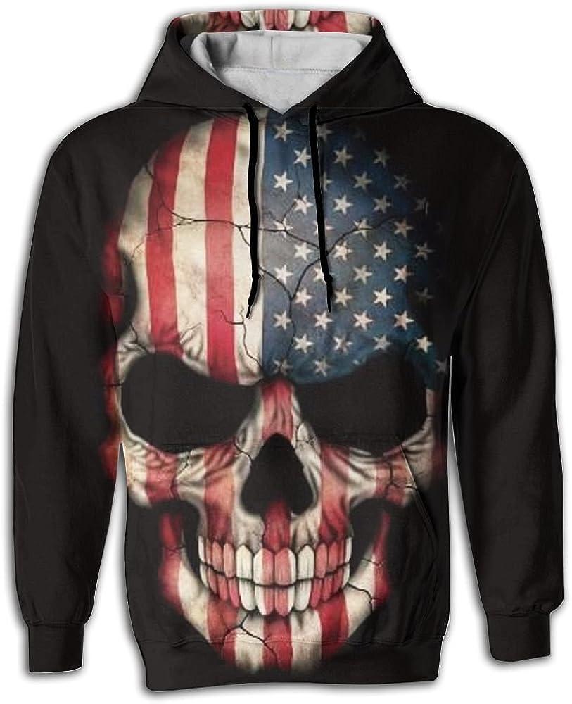 FUSALIN Skull A National FlagUnisex 3D Printed Sweatshirt Casual Pullover Hoodie With Big Pockets