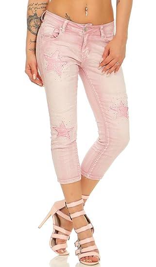 Label by Trendstylez Damen 7 8 Skinny-Jeans Stretch Hose Stern-Patches  Schmucknieten Altrosa A0878  Amazon.de  Bekleidung e75d51d0c2