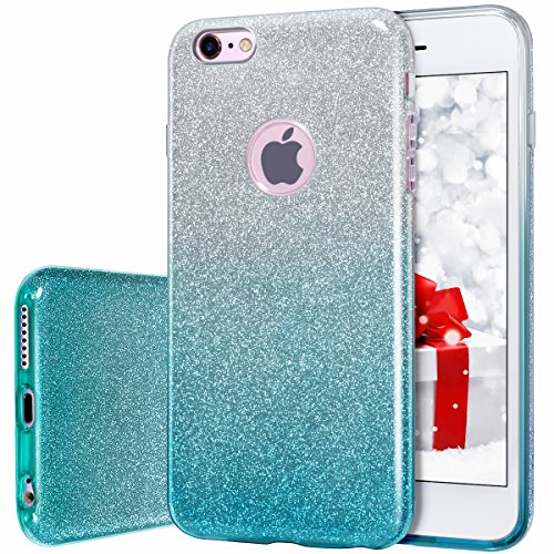 MATEPROX iPhone 6s Case iPhone 6 Case Glitter Slim Bling Crystal Clear 3 Layer Hybrid Protective Case for iPhone 6s/6 4.7 inch (Gradient Green)