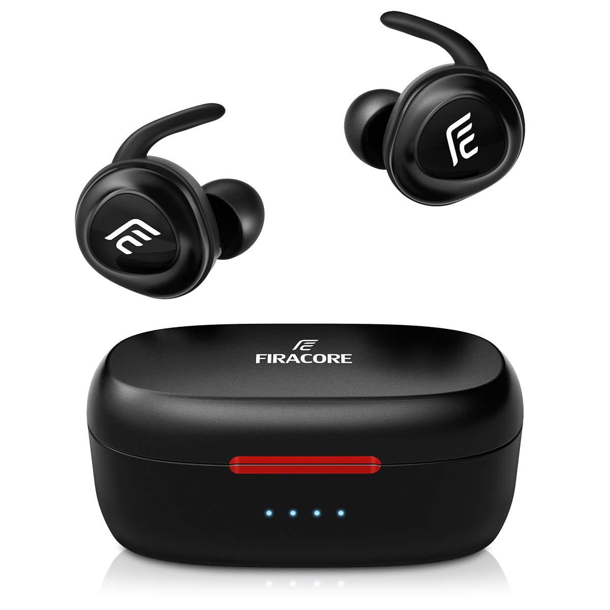 FIRACORE 5.0 Bluetoothヘッドホン 真のワイヤレスイヤホン 重低音 HiFiステレオサウンド Bluetoothイヤホン 16H再生 ミニインイヤーヘッドセット 充電ケースと内蔵マイク付き スポーツ/ランニング用 FIRACORE F10   B07SVG1Z12