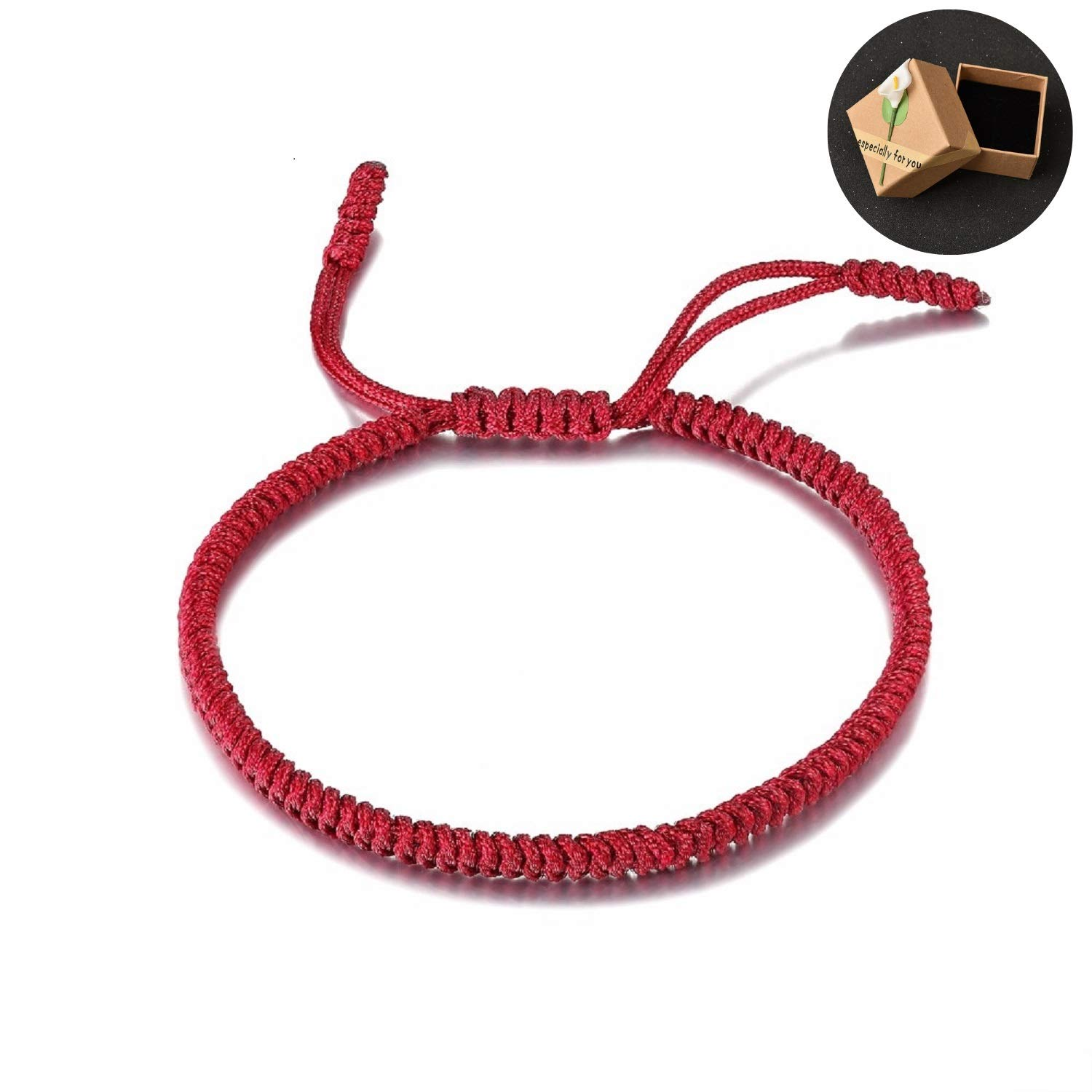 Handmade Tibetan Lucky Bracelet Woven Green Deep Red From Heart Bracelets Mens Womens Lucky String Bracelets For Protection and Valentine Gift Couple Gift Box by MoonArts