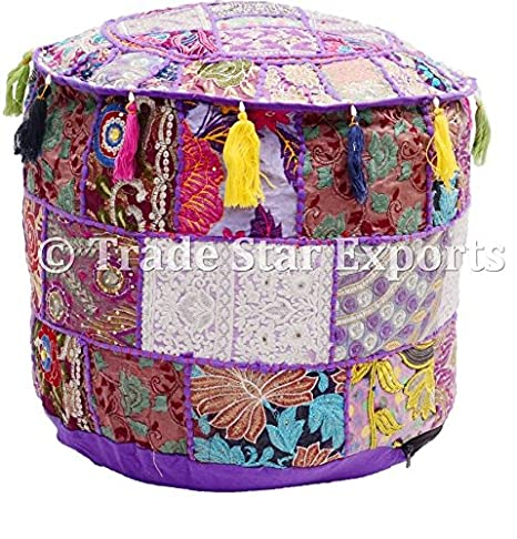 Fabulous Amazon Com Indian Patchwork Pouf Cover Round Ottoman Caraccident5 Cool Chair Designs And Ideas Caraccident5Info